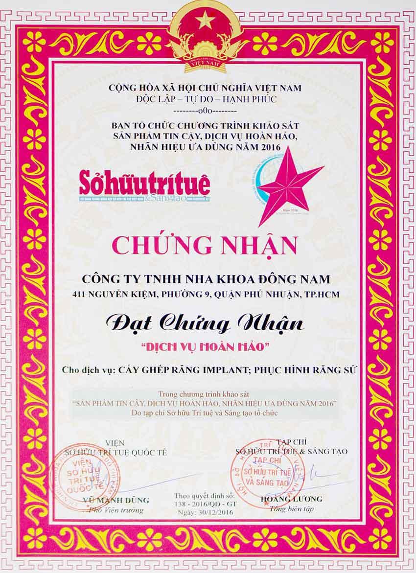 giấy chứng nhận dịch vụ hoàn hảo