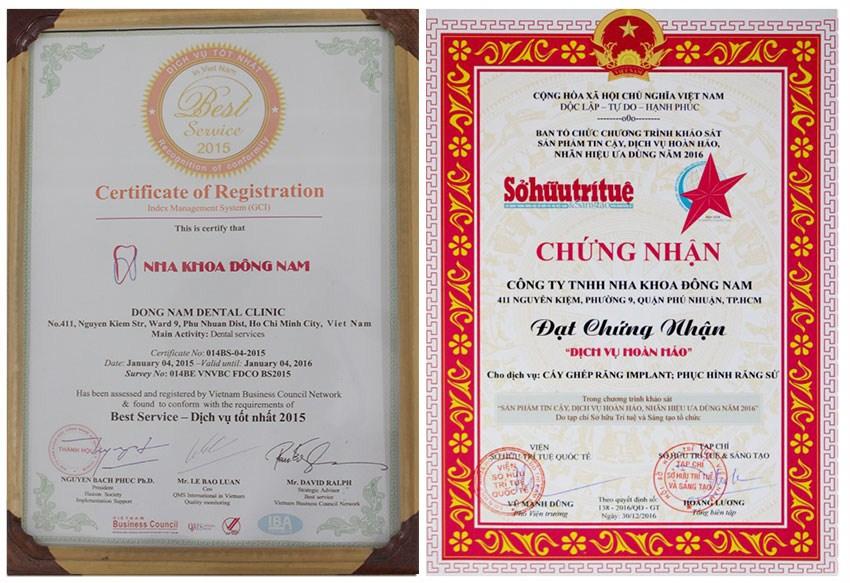 Chứng nhận dịch vụ tốt nhất tại Nha khoa Đông Nam