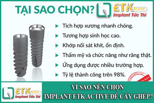 vì sao nên chọn implant etk active để cấy ghép
