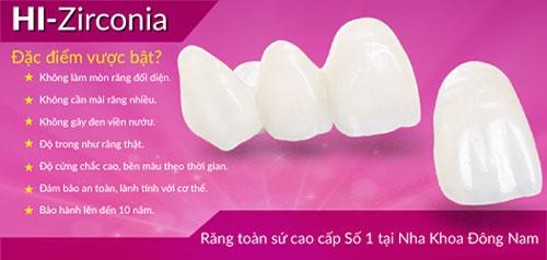 Ưu điểm của răng sứ hi-zirconia