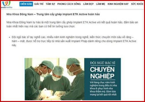 Webtretho review implant etk active của nha khoa Đông Nam 3