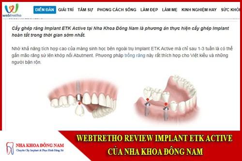Webtretho review implant etk active của nha khoa Đông Nam