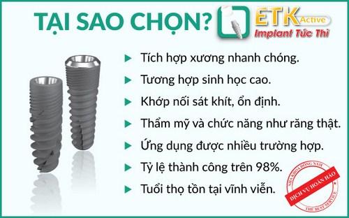 Cấy ghép Implant ETK tại nha khoa Đông Nam