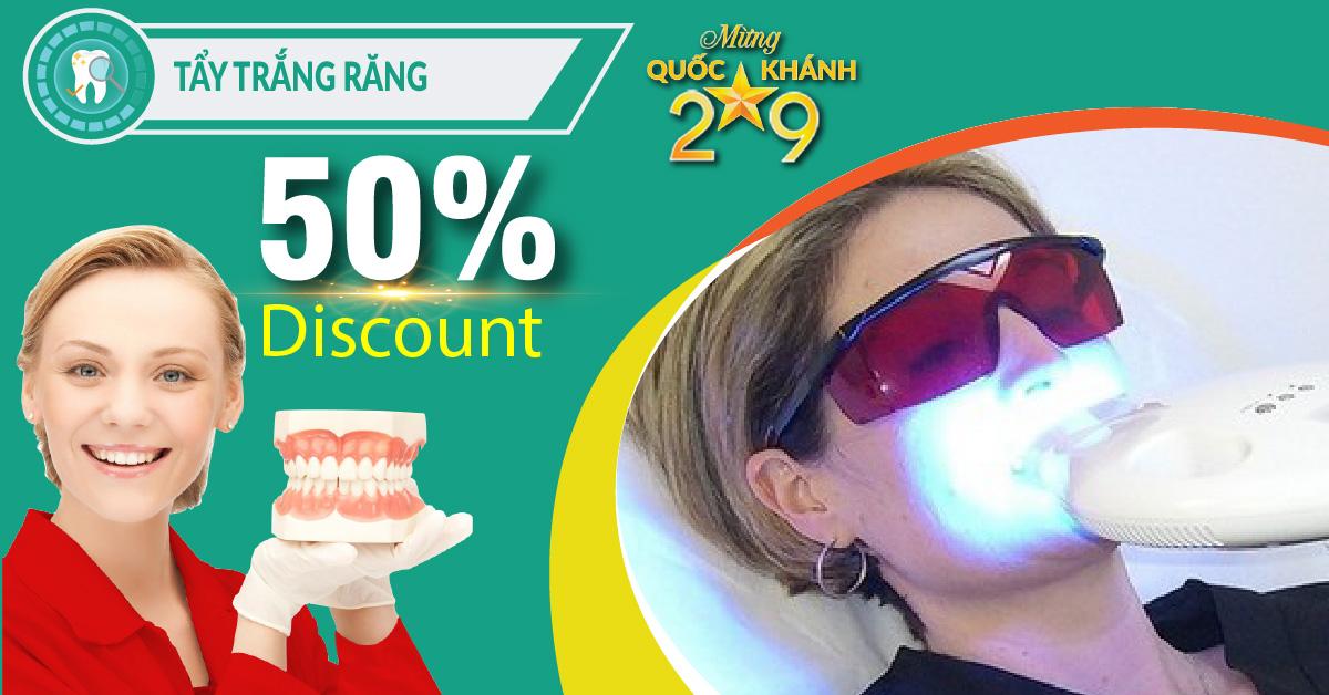 Chương trình Khuyến mãi tẩy trắng răng nhân dịp quốc khánh 2/9/2018