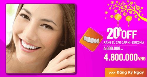 nha khoa đông nam khuyến mãi răng toàn sứ cao cấp