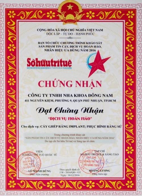 giấy chứng nhận nha khoa đông nam
