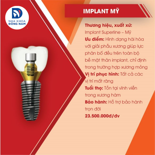 implant superline mỹ