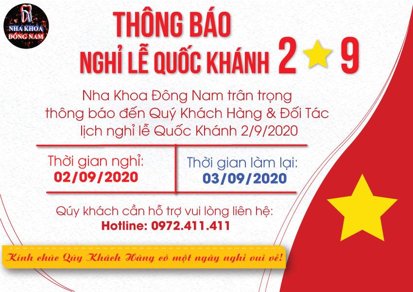 Nha khoa Đông Nam thông báo nghỉ lễ 2-9-2020